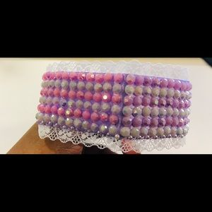 Pastel bling and lace double sided choker